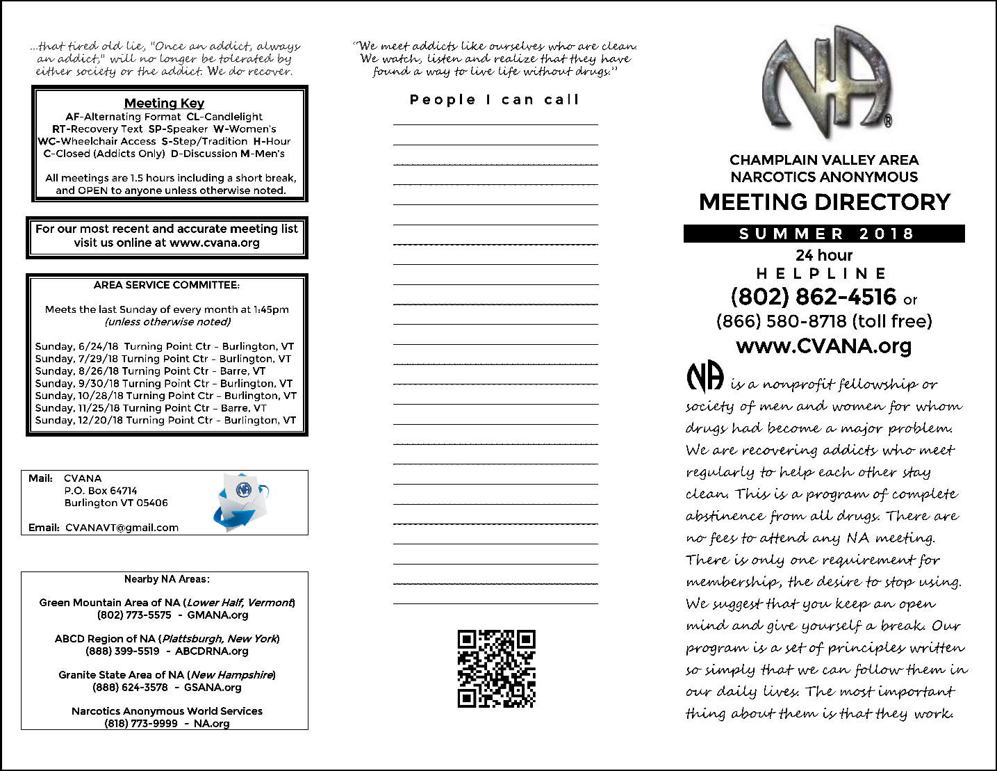 champlain valley area of narcotics anonymous